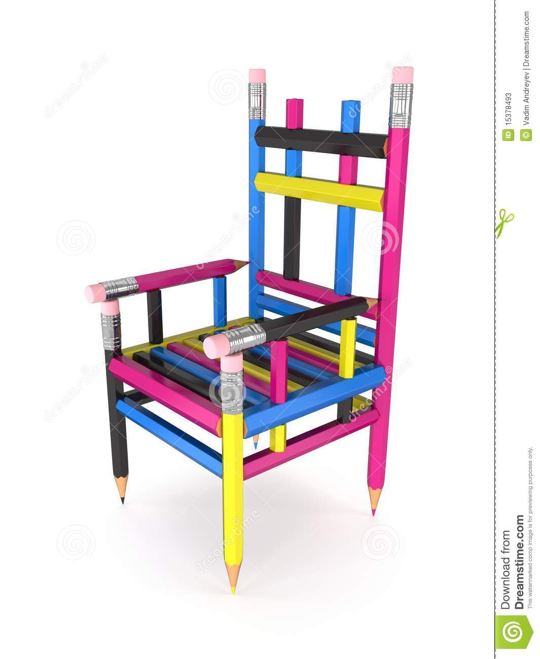 Attrayant Download CMYK Pencil Chair Stock Illustration. Illustration Of Creativity    15378493