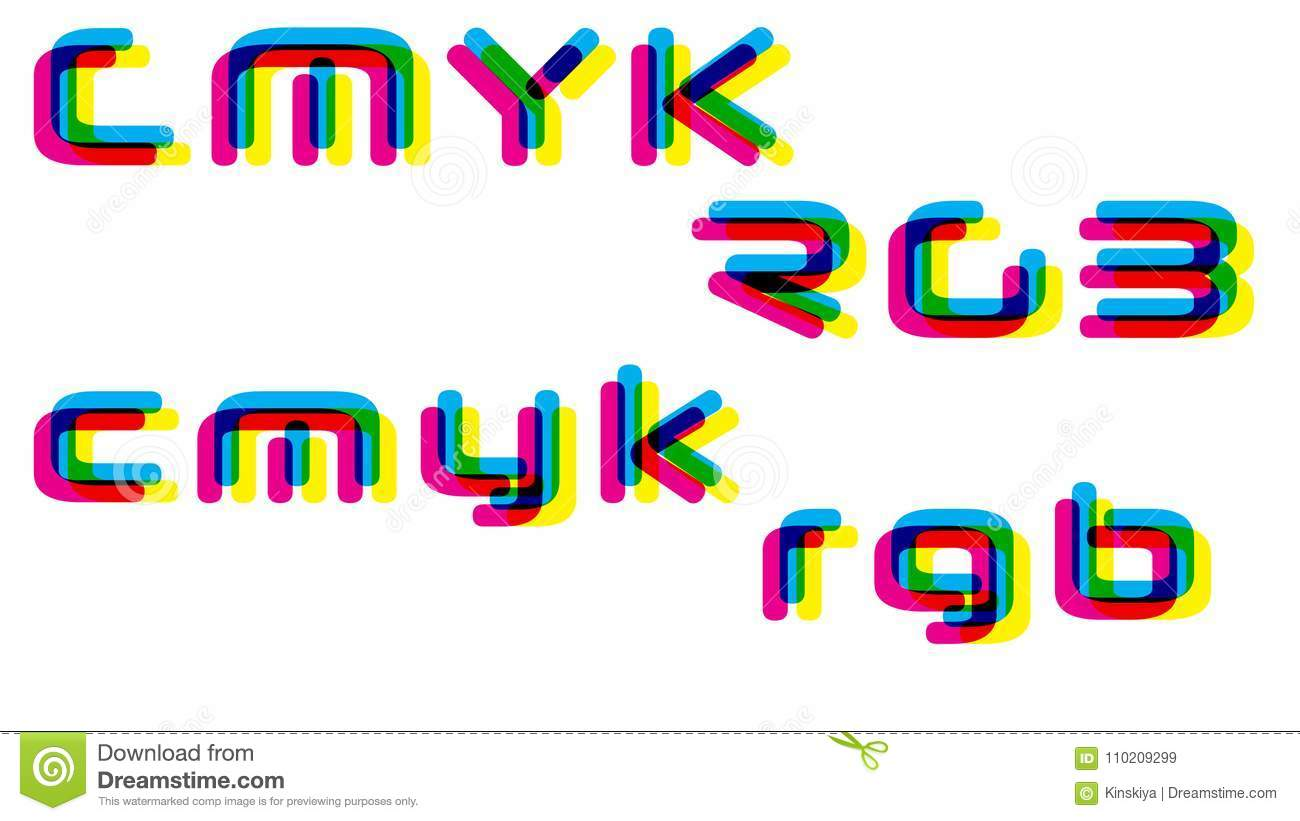 cmyk rgb colorful words template vector illustration stock