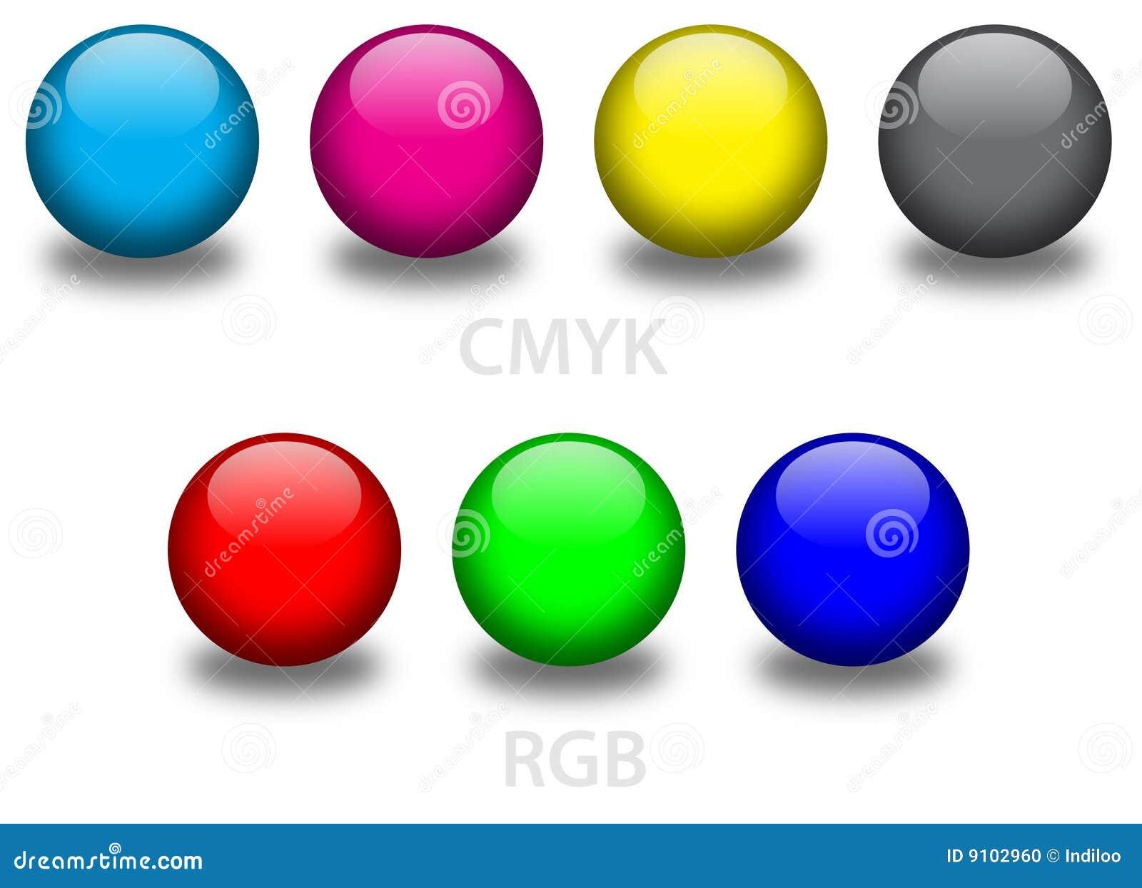 CMYK and RGB glass balls