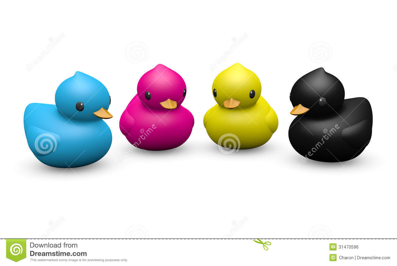Cmyk Color Rubber Duck Symbolic Toy Royalty Free Stock
