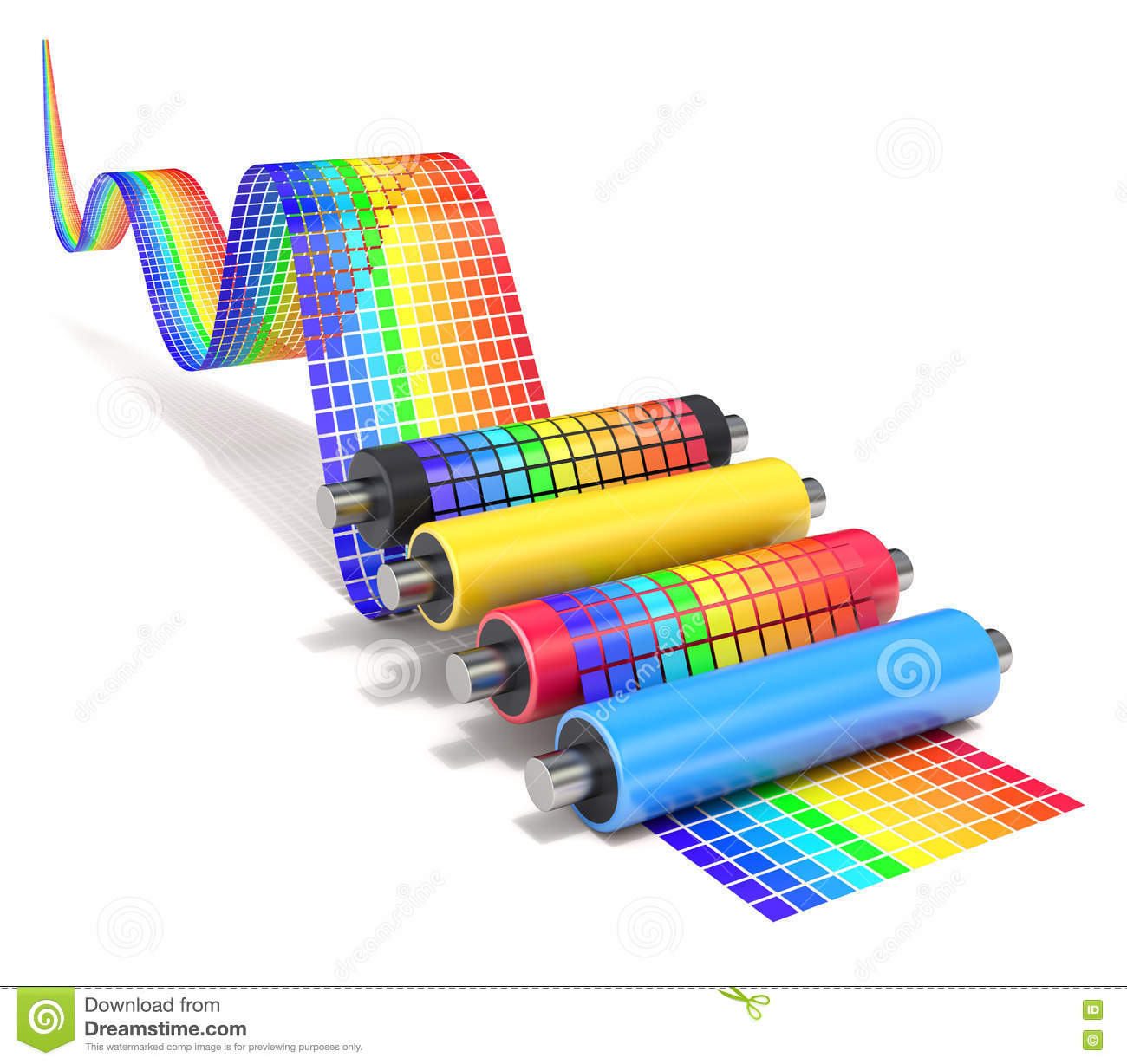 Cmyk Set Of Printer Rollers With Wavy Color Chart Stock Illustration