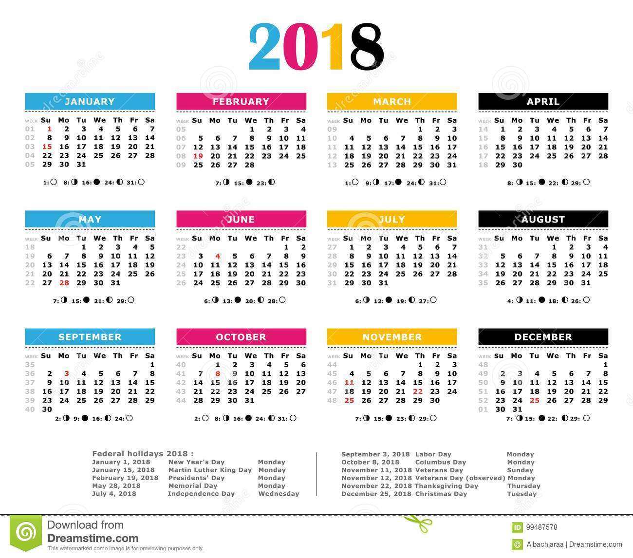 2018 cmyk print colors yearly calendar