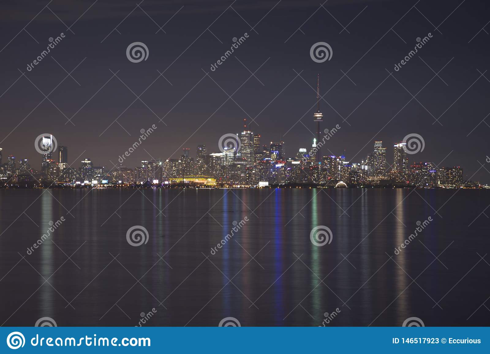 CN Tower and Toronto`s skyline at night