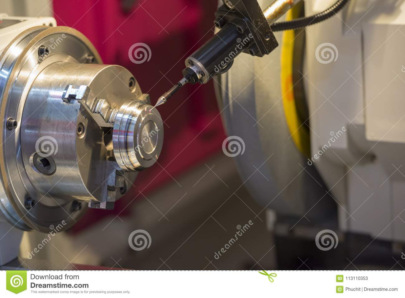 The CNC Lathe Machine Cutting The Metal Part Stock Image - Image of ...