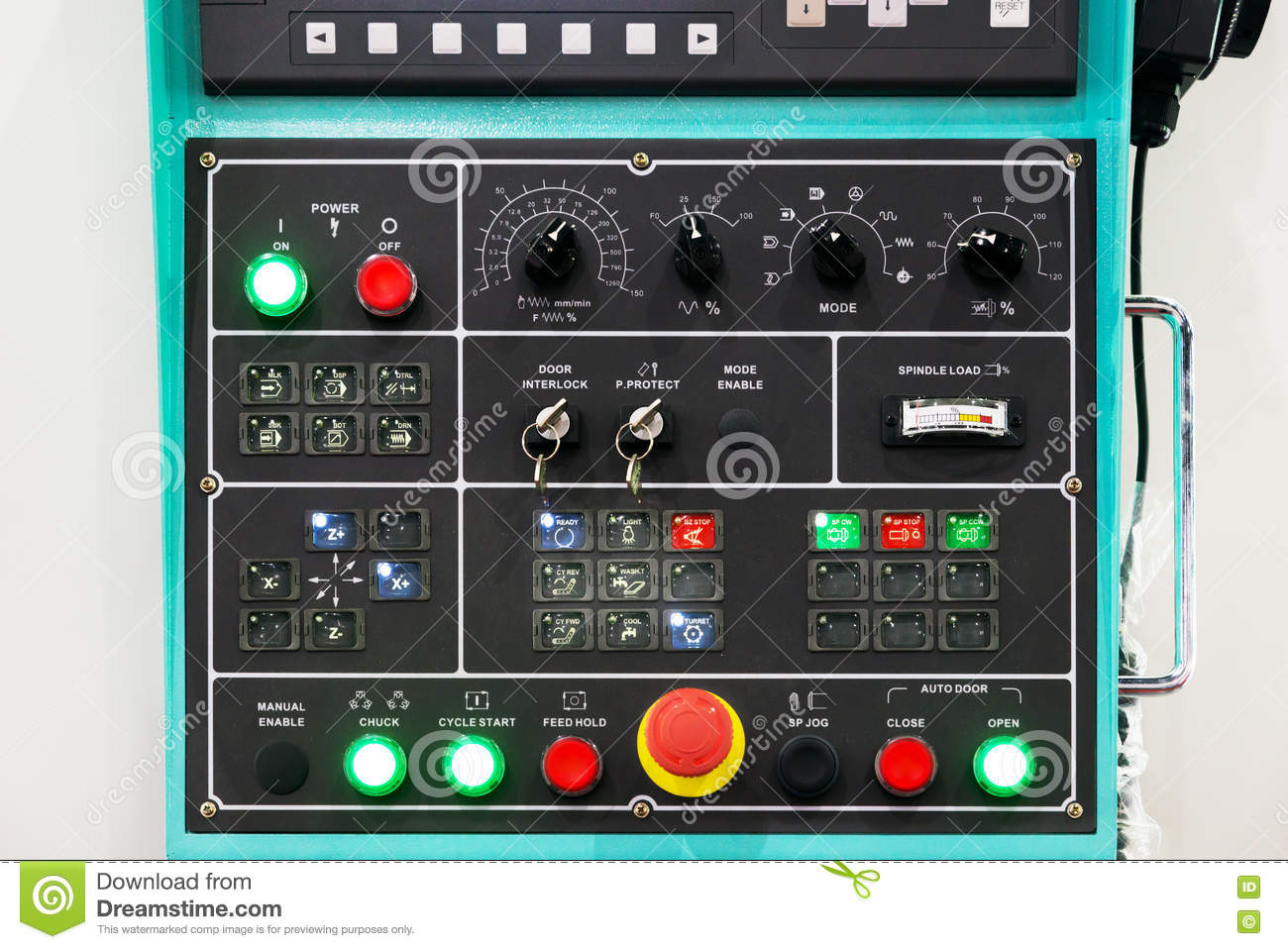 Time Control Panel : Cnc machine control panel texture with lots of buttons in
