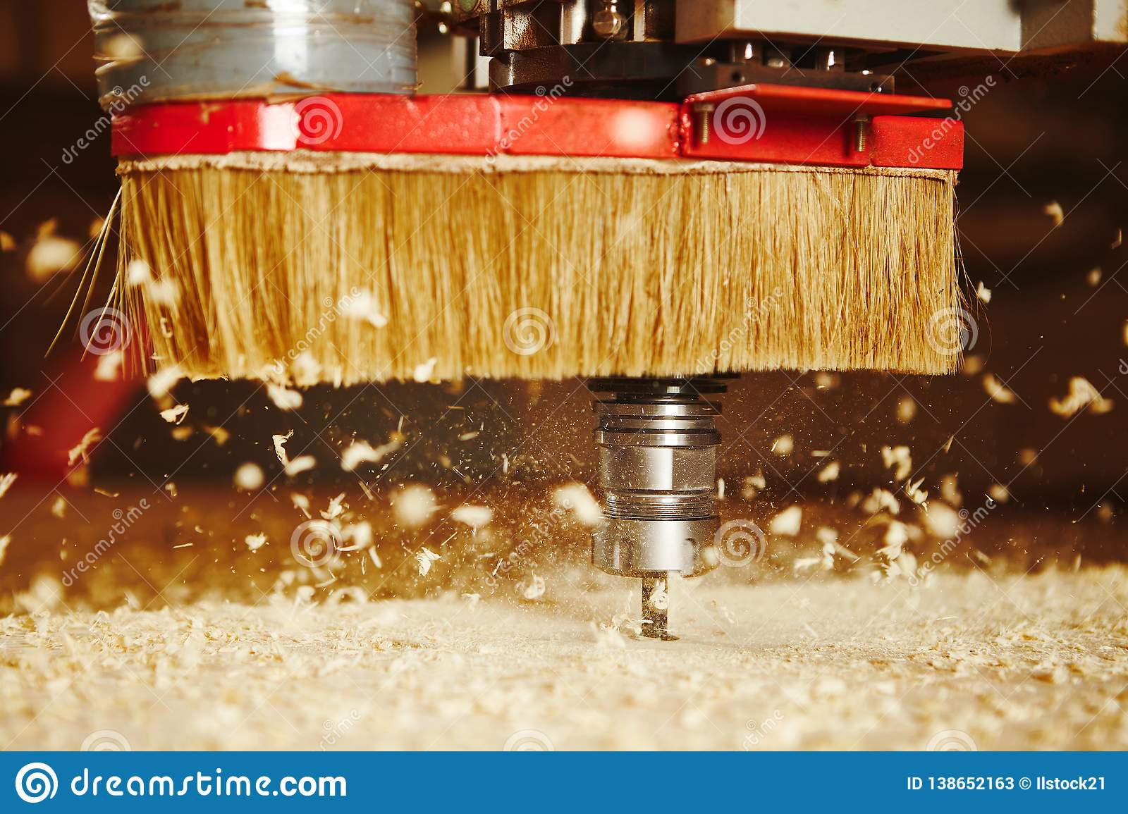 Cnc Machine Working Cutting Wood Woodwork Industry Stock Image