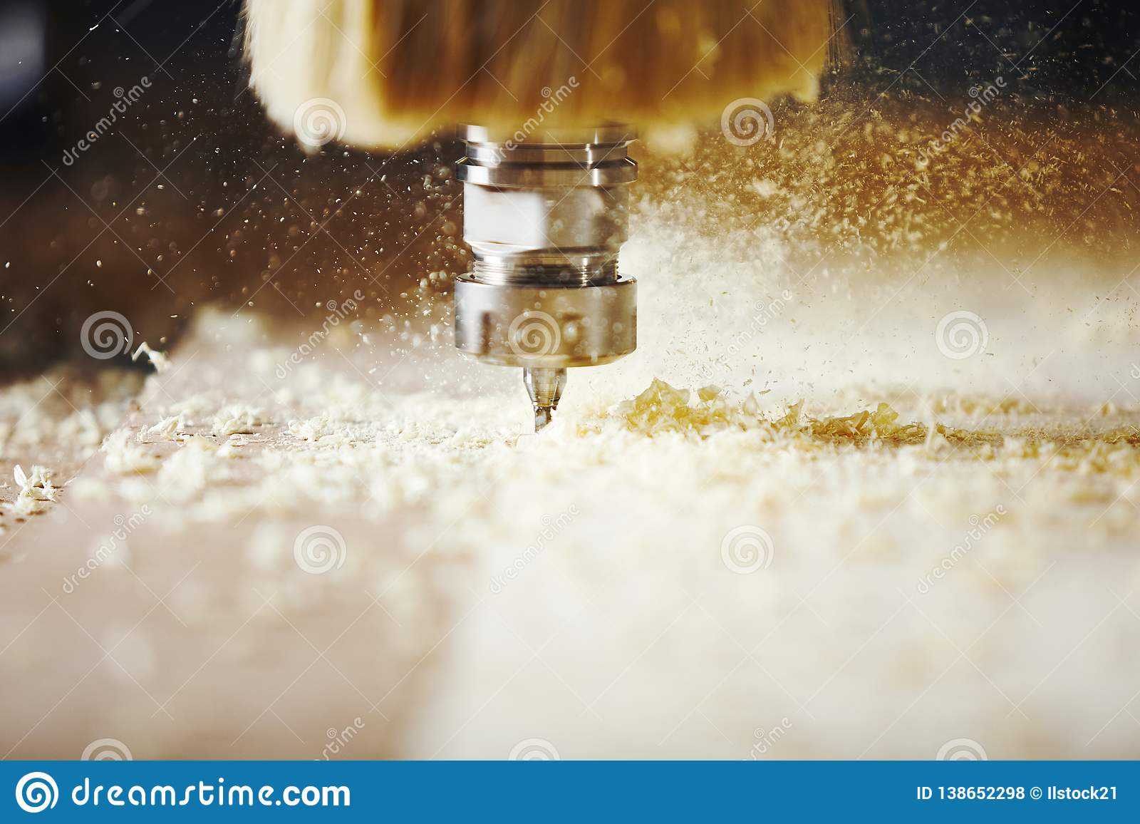 Cnc Machine Working Cutting Wood Woodwork Industry Stock Photo