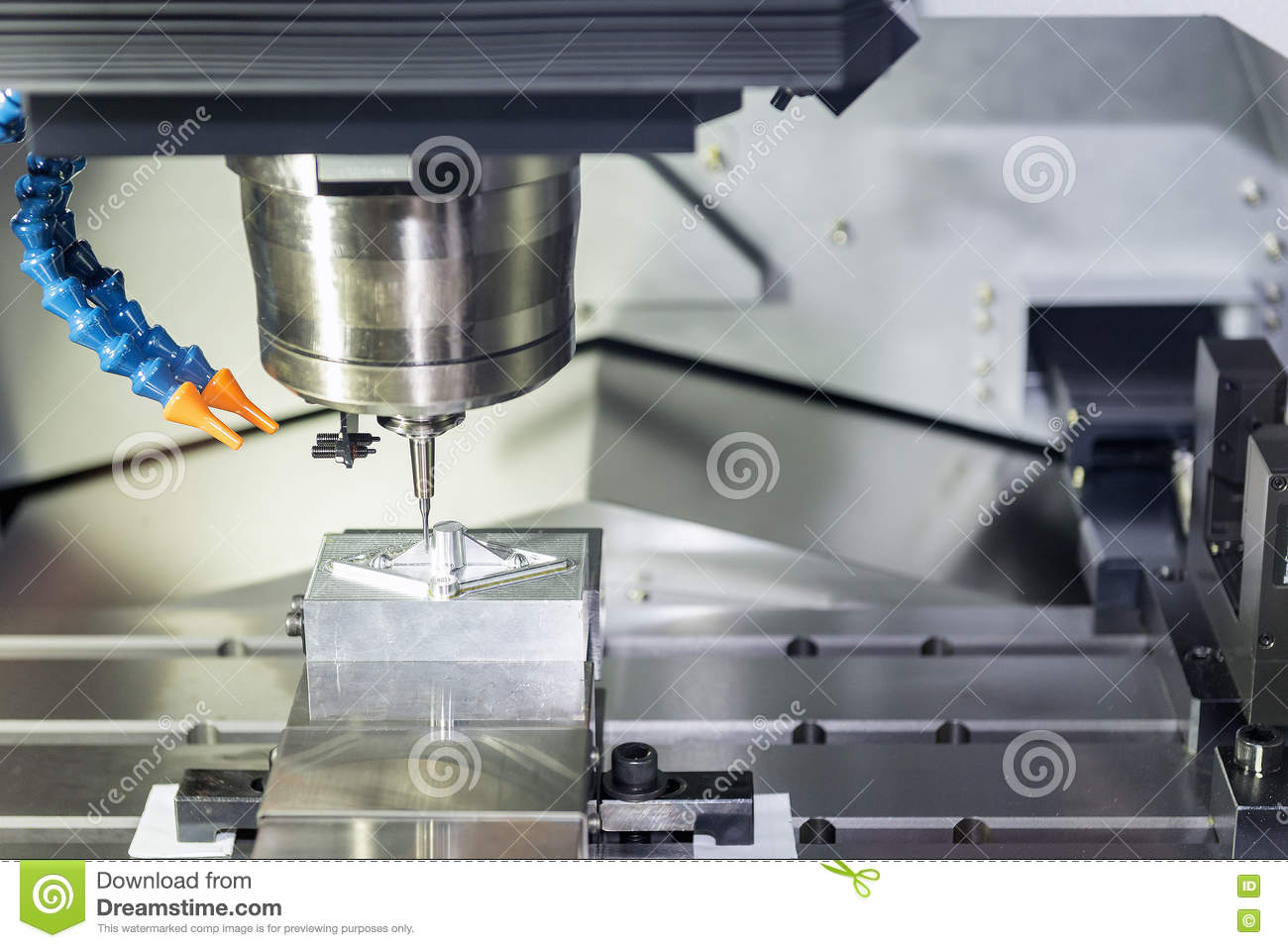 CNC Milling Operation On The Sample Work Pieces Stock Photo - Image
