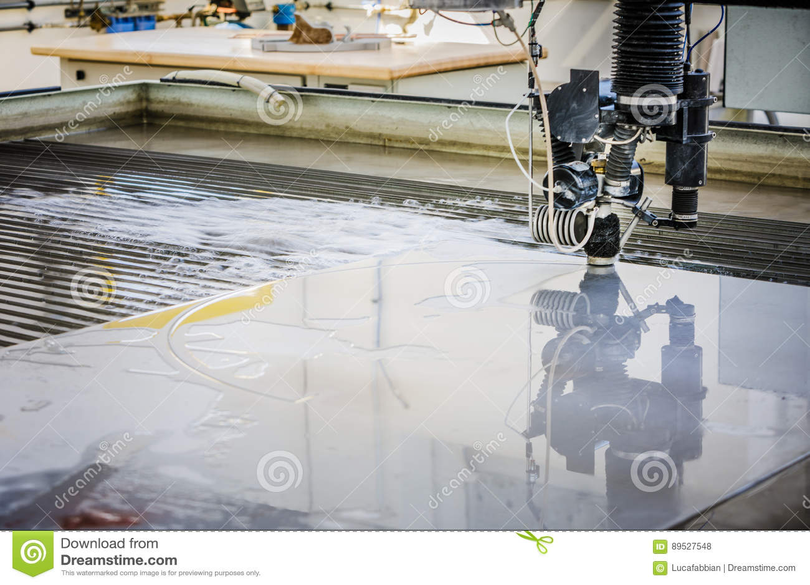 CNC Waterjet Cutting Machine Detail Stock Photo - Image of