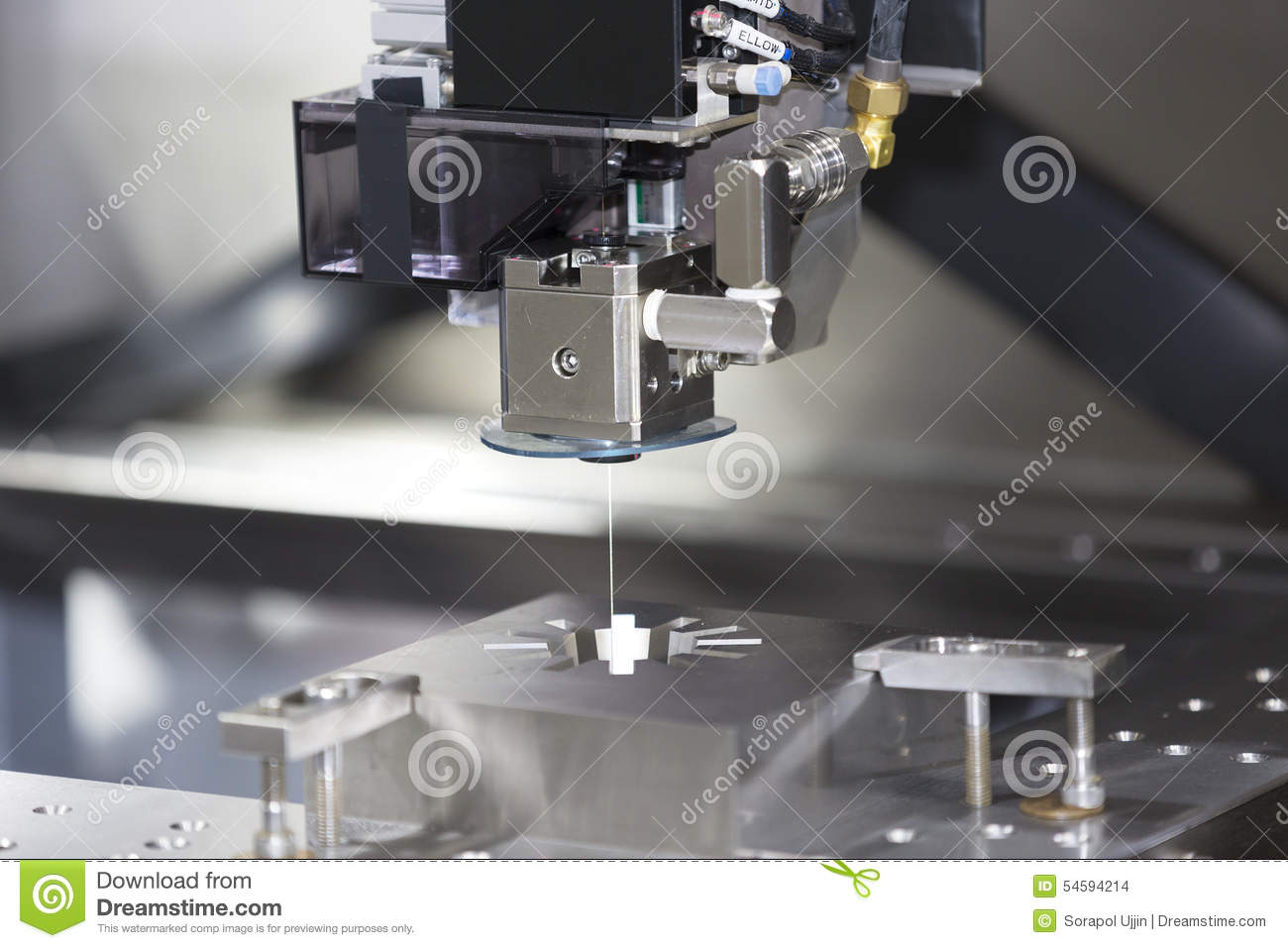 CNC Wire Cut Machine Cutting Mold Parts Stock Photo - Image of ...
