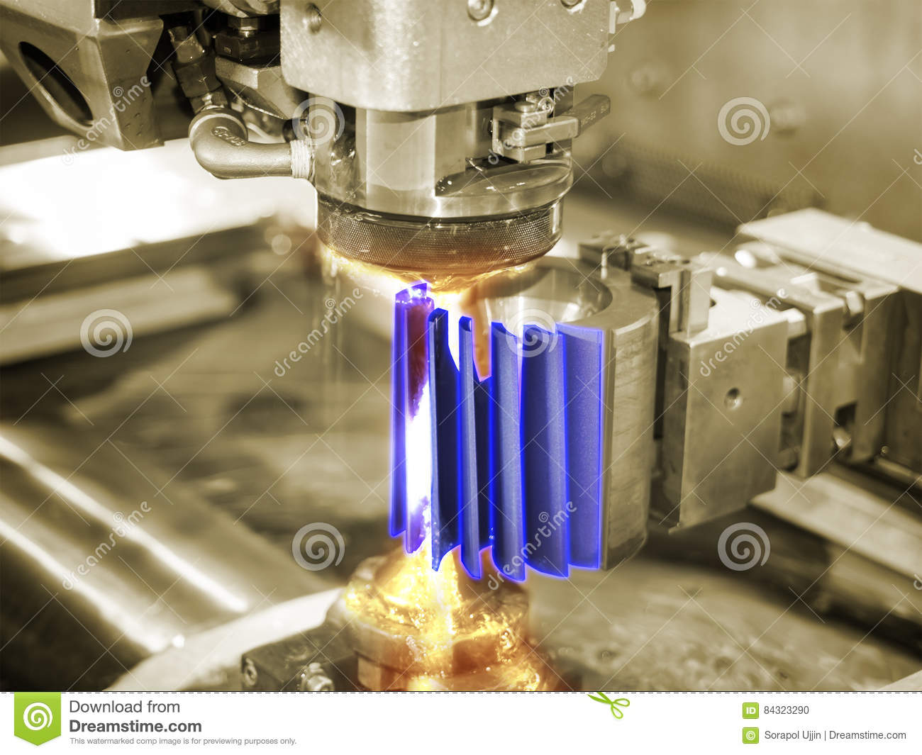 CNC Wire Cut Machine Cutting Mold Parts Stock Photo - Image of