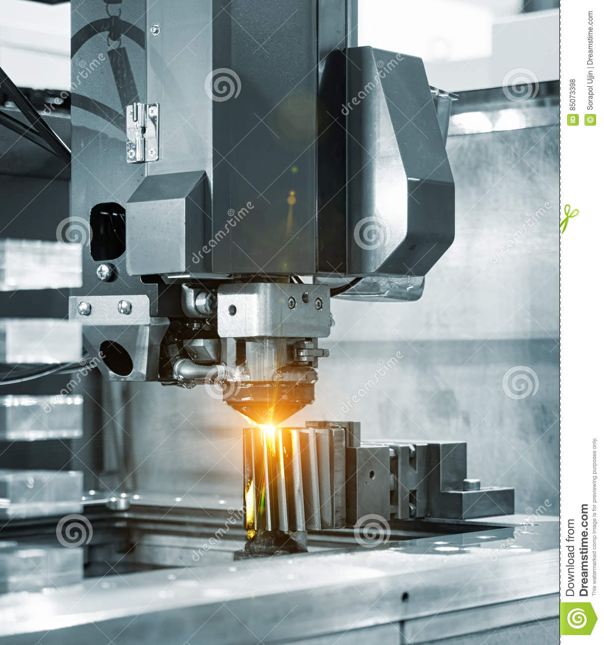 CNC Wire Cut Machine Cutting Mold Parts Stock Photo - Image of heat ...