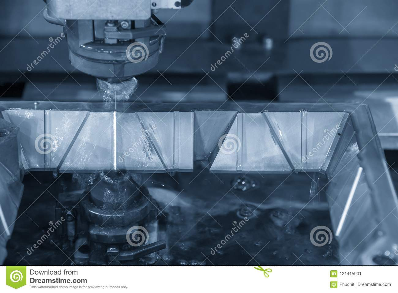 The CNC Wire-edm Machine Cutting The Metal Plate Stock Image - Image ...
