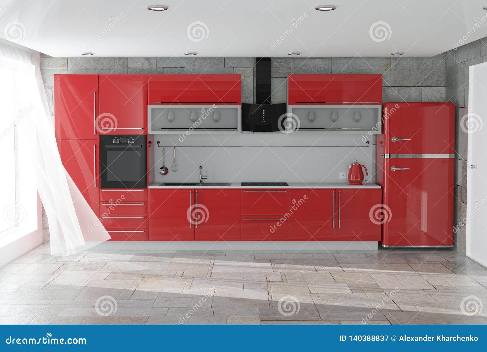 Современная красная мебель кухни с интерьером Kitchenware перевод 3d