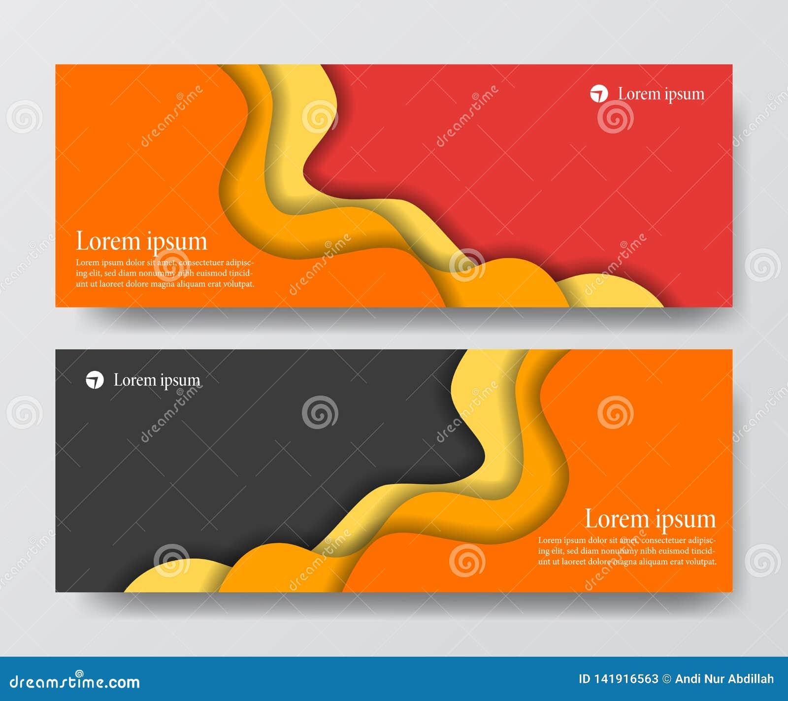 Современное оранжевое красное знамя заголовка дела установило ремесло отрезка бумаги origami волны