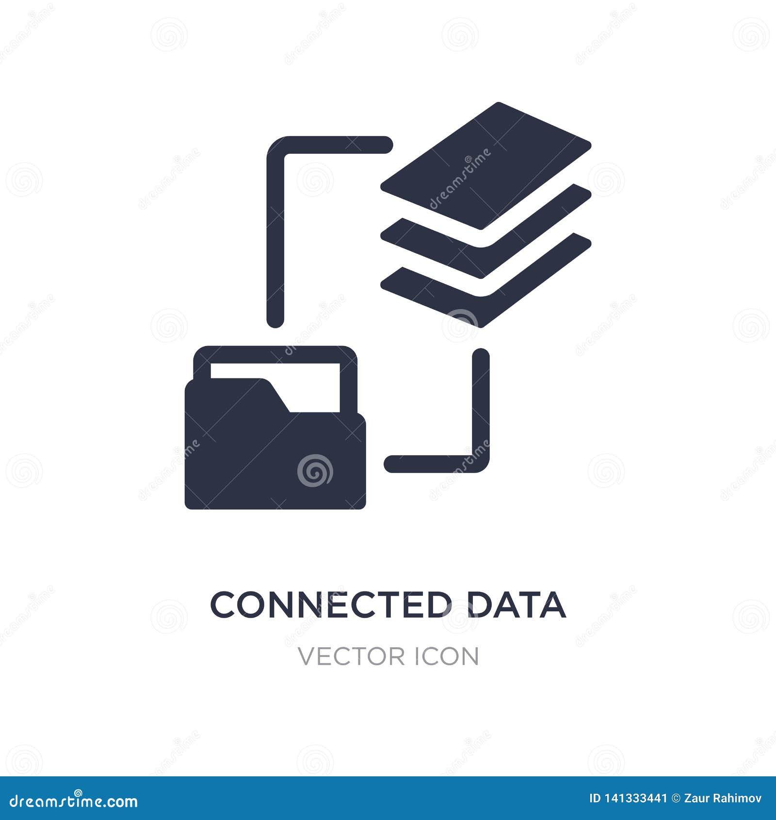 соединенный значок данных на белой предпосылке Простая иллюстрация элемента от концепции дела и аналитика