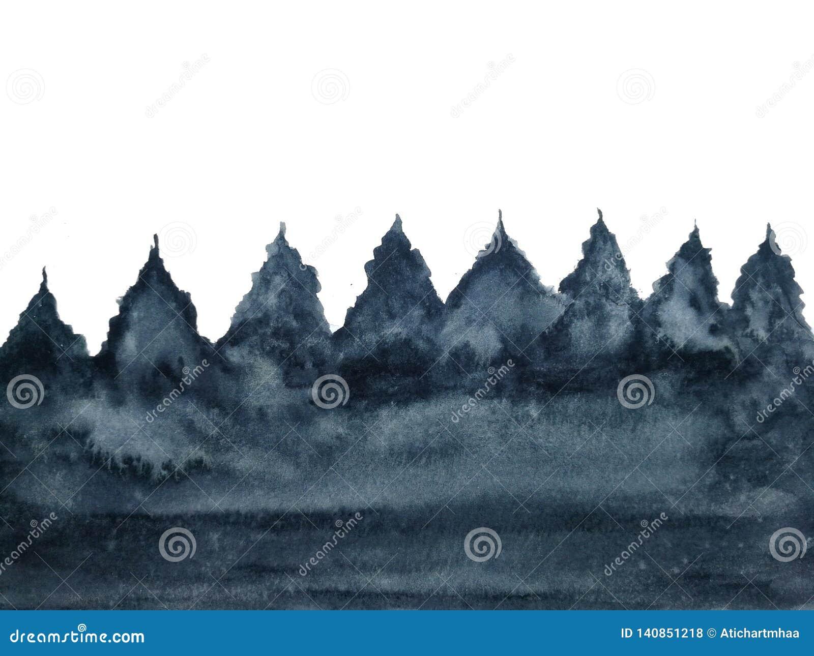 Сосна дерева ландшафта акварели изолированная на белой предпосылке