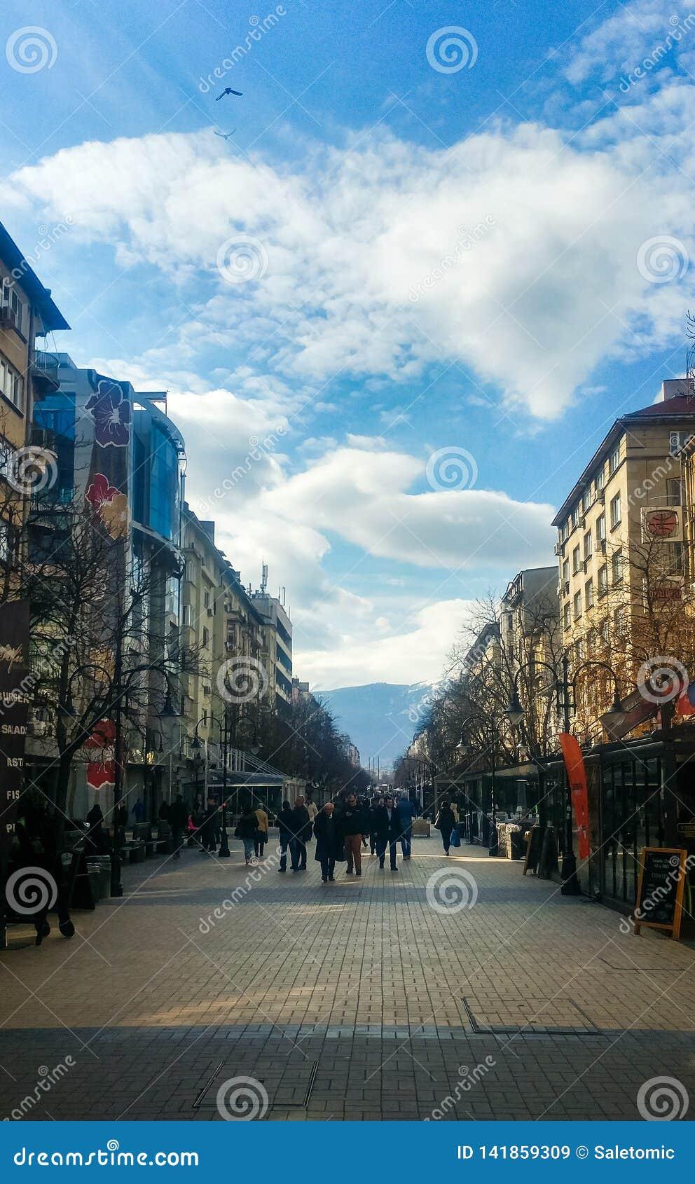 София, Болгария - 11-ое марта 2019: Улица Софии пешеходная идя на солнечный день