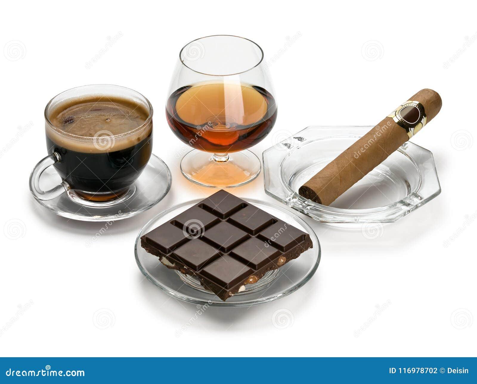 Coñac, cigarro, café, chocolate