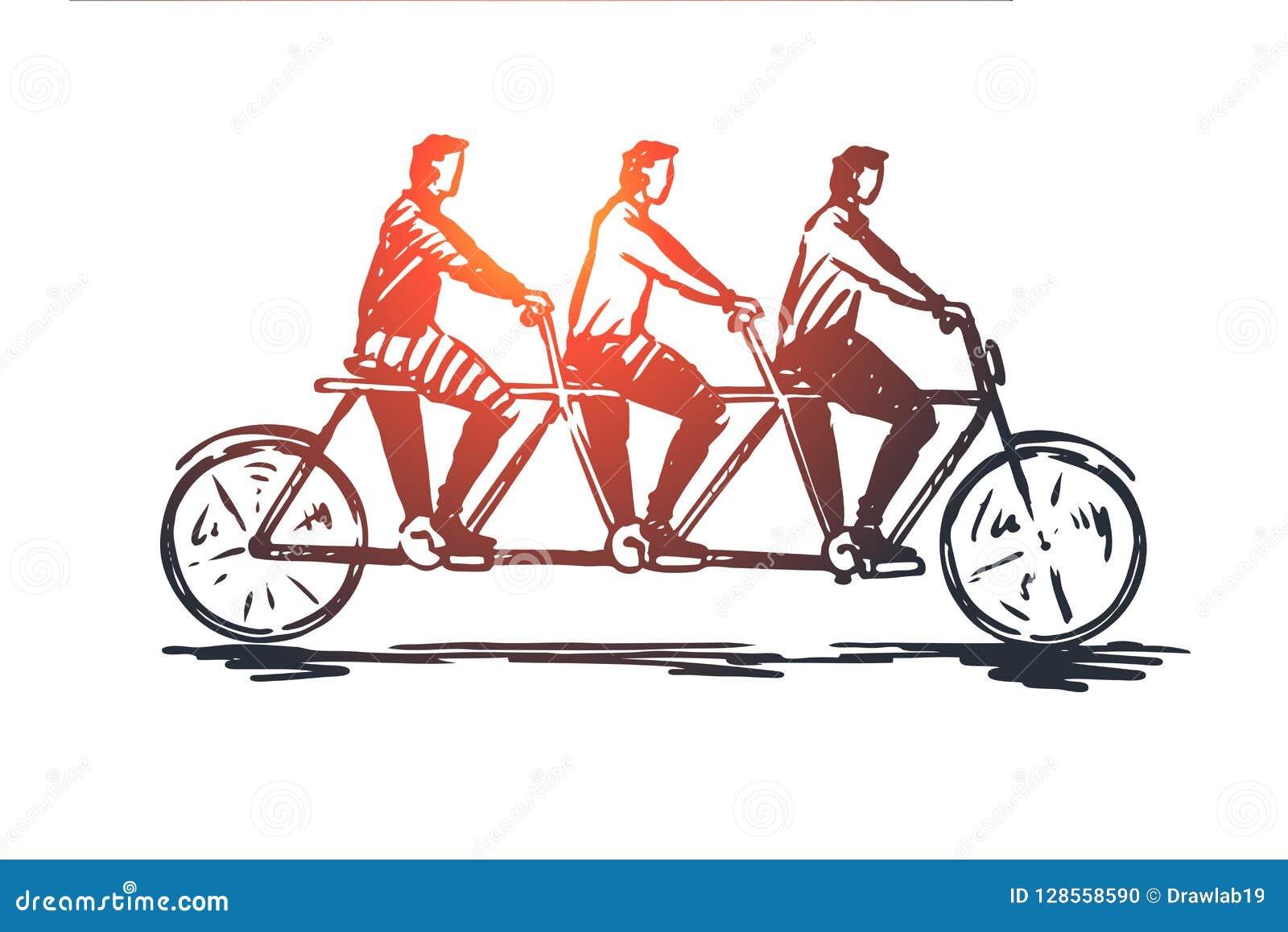 Coördinaat, samenwerking, groepswerk, fiets, concept achter elkaar Hand getrokken geïsoleerde vector