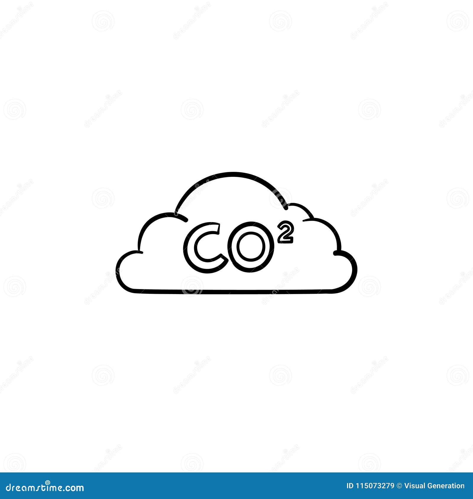 CO2 cloud hand drawn sketch icon.