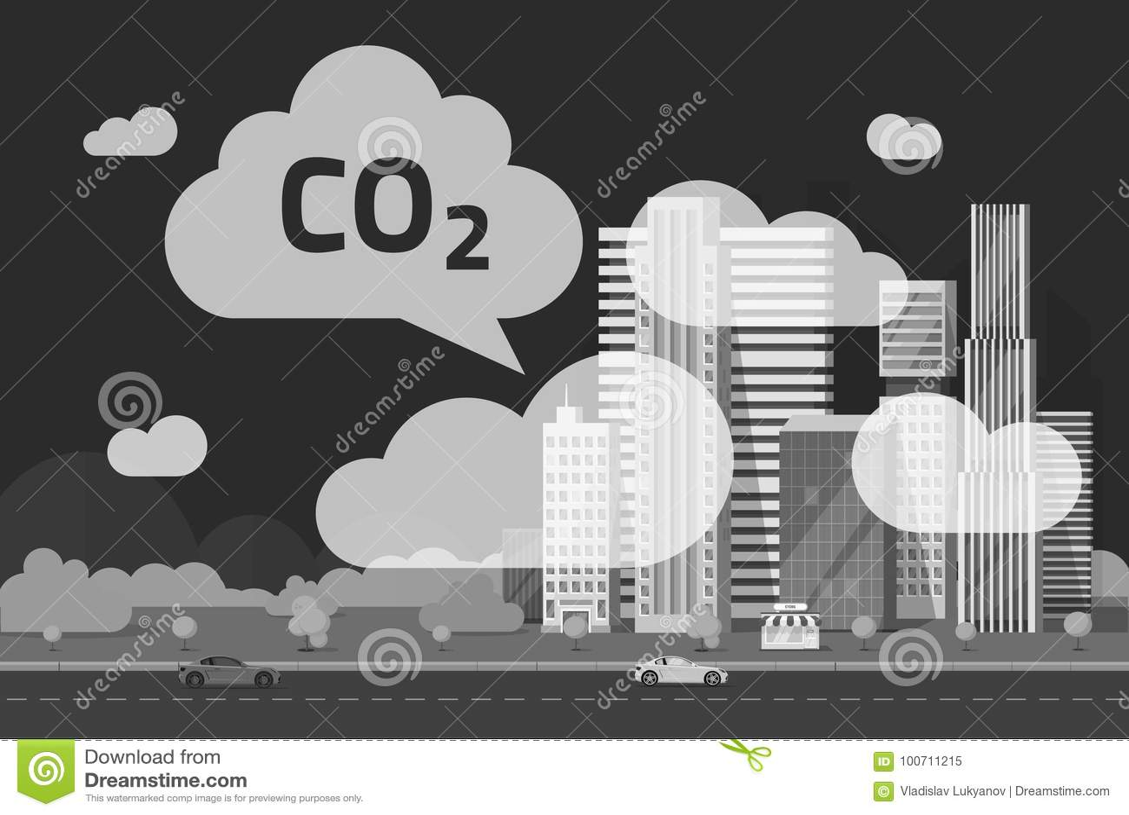 CO2 emissions by big city vector illustration, flat cartoon urban scene or carbon dioxide emission or pollution clouds