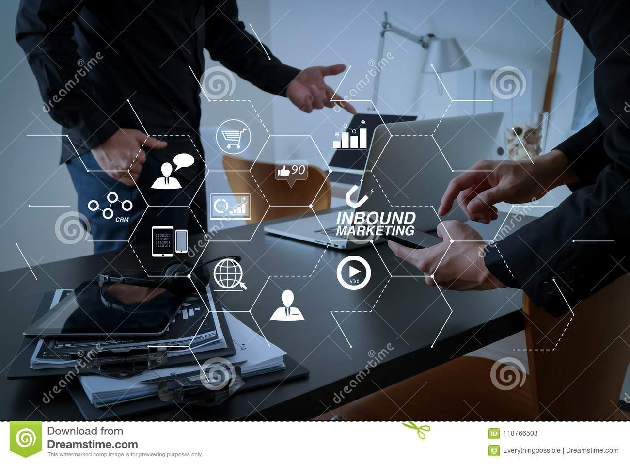 co working meeting two businessman using voip headset with latop