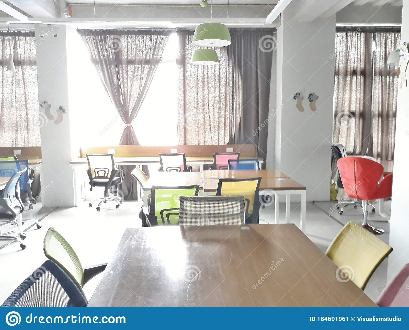Co Working Space Creative Office Center Working On Colorful Chair Wood Brown Table Laptop Modern Office Workplace Editorial Photo Image Of Modern Concept 184691961