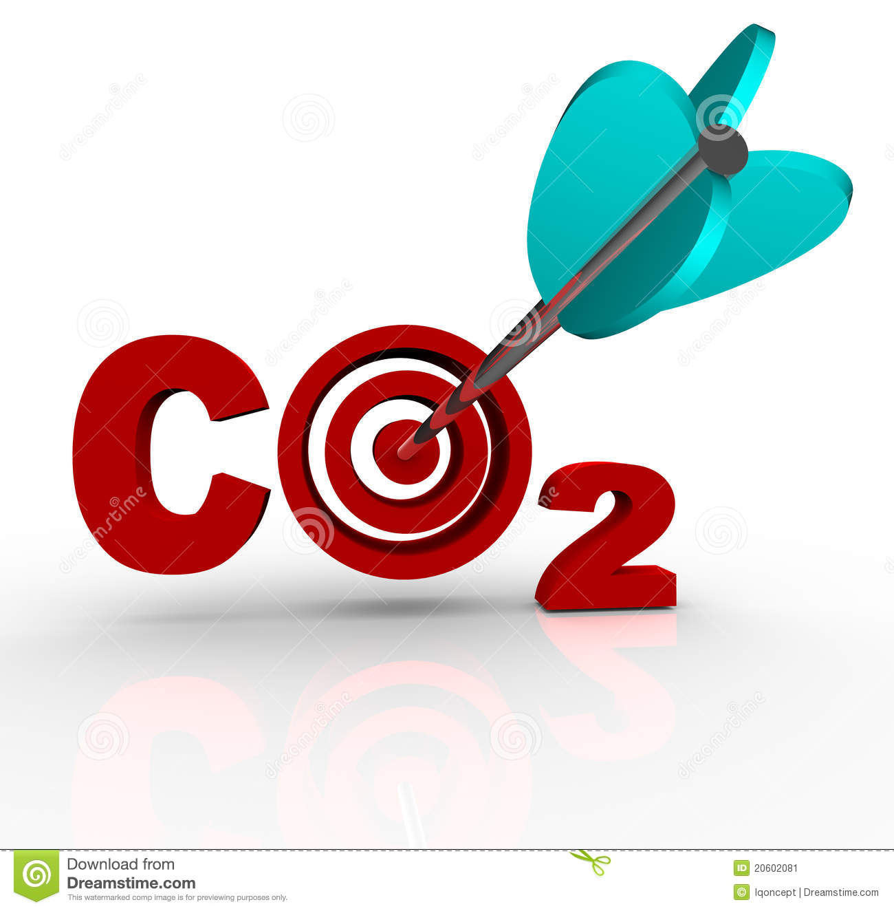 The letters CO2 representing Carbon Dioxide with a target bulls-eye in ...