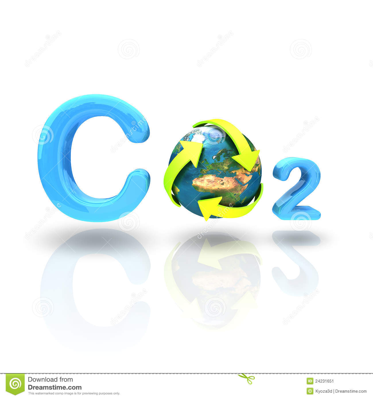 Co2 Formula With Recycle Globe On White Background Stock