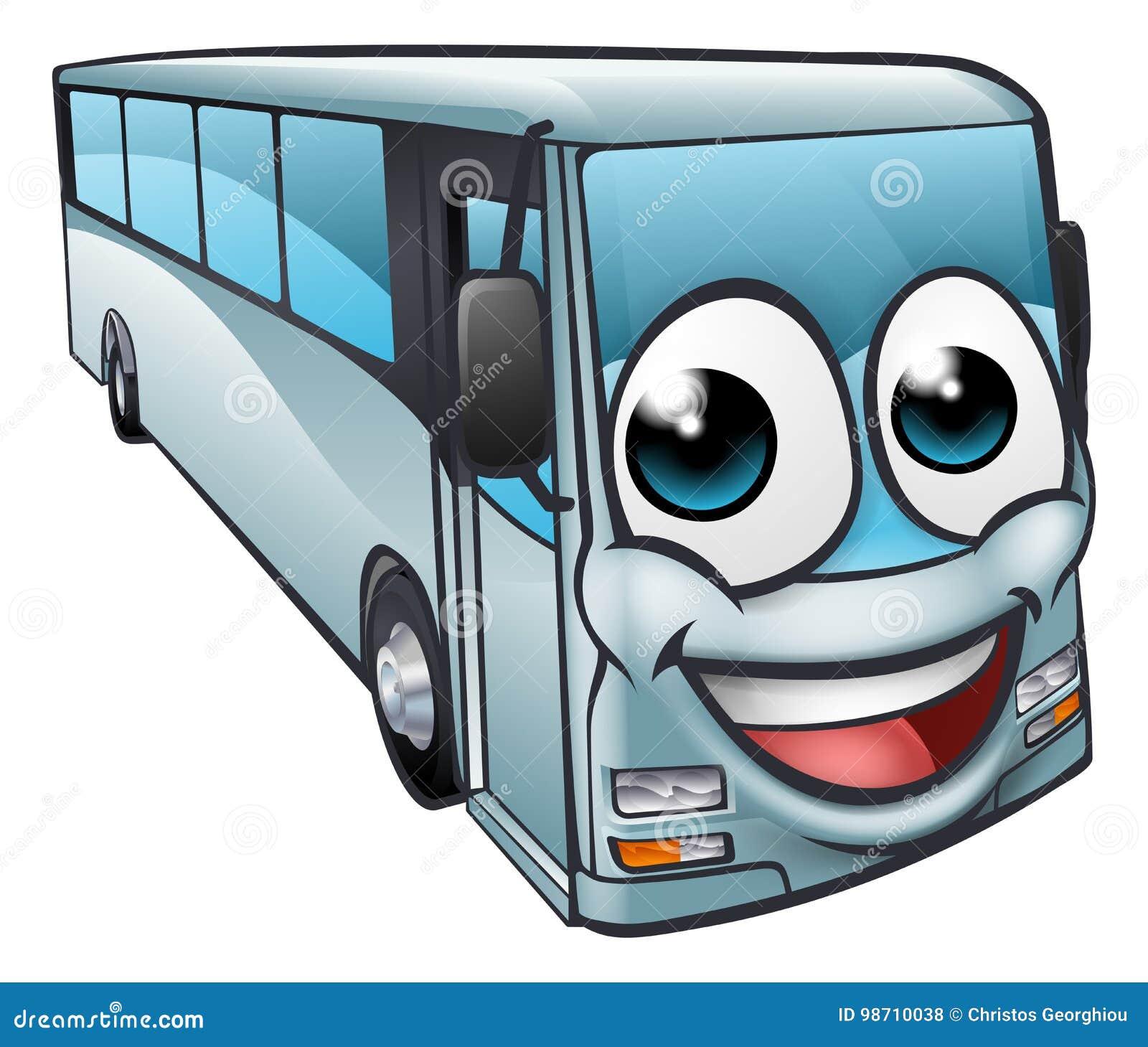 Coach Bus Cartoon Character Mascot Stock Vector