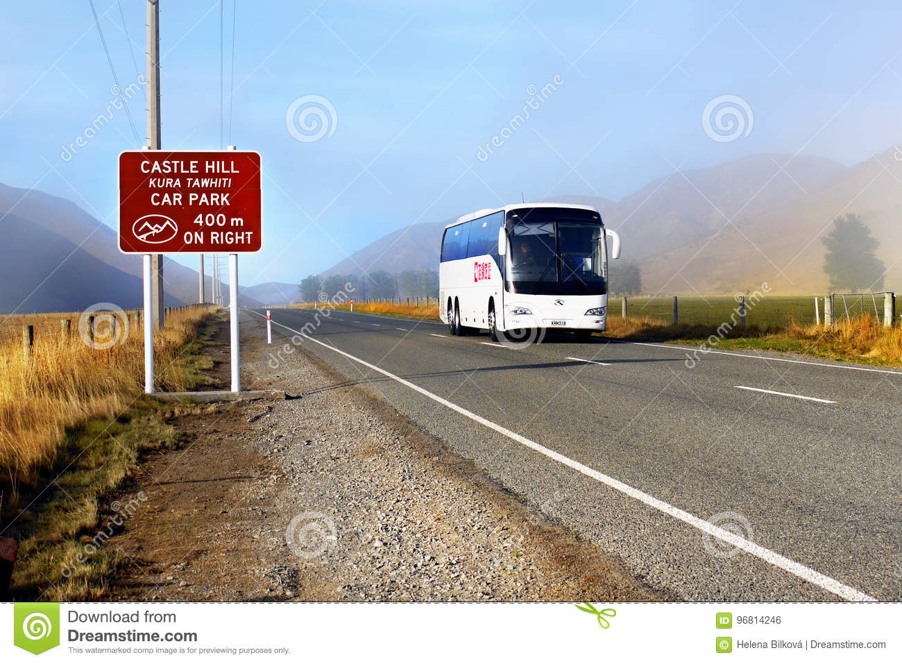 Coach Bus on Mountain Road, New Zealand