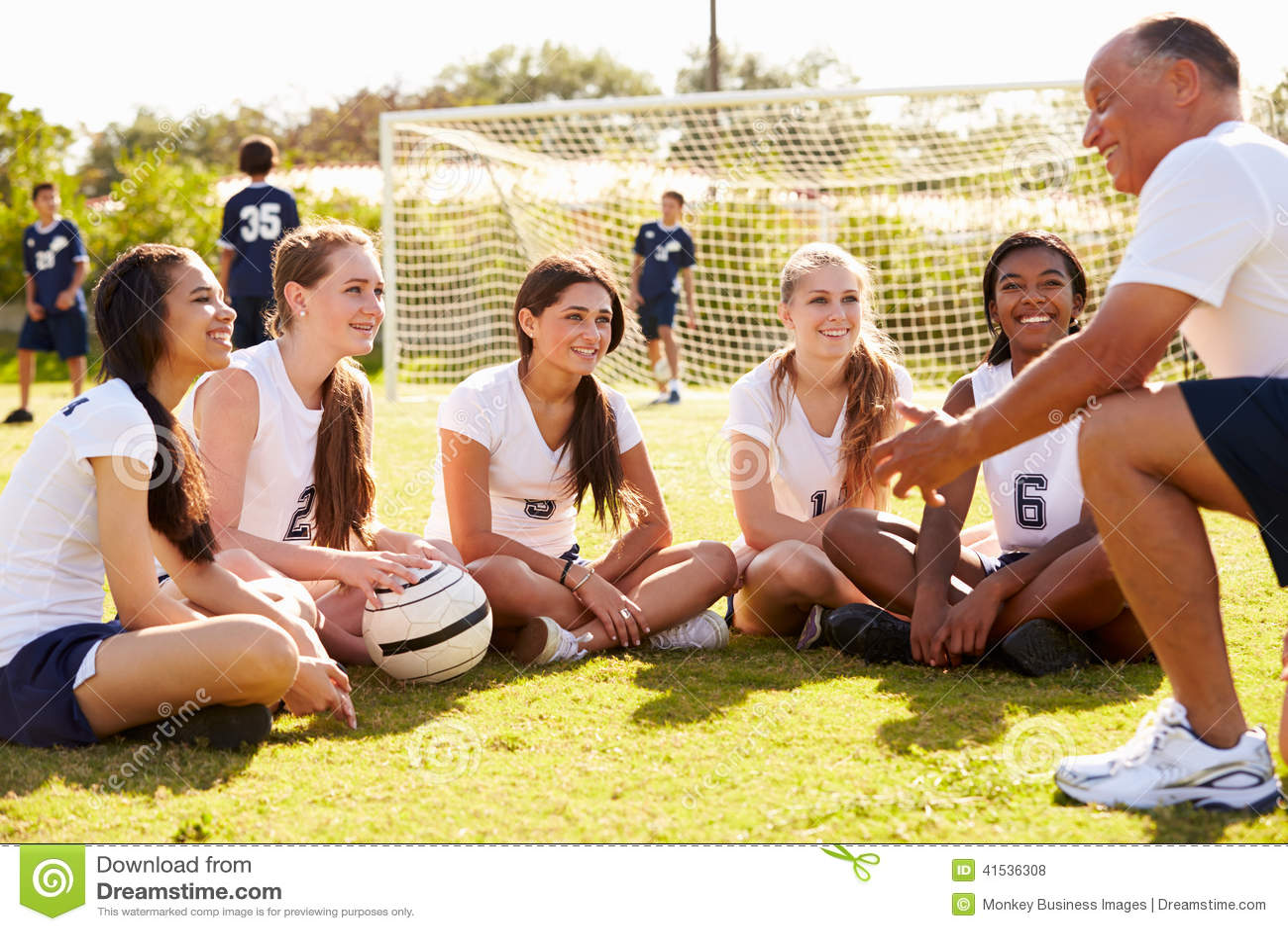 ... Talk To Female High School Soccer Team Stock Photo - Image: 41536308