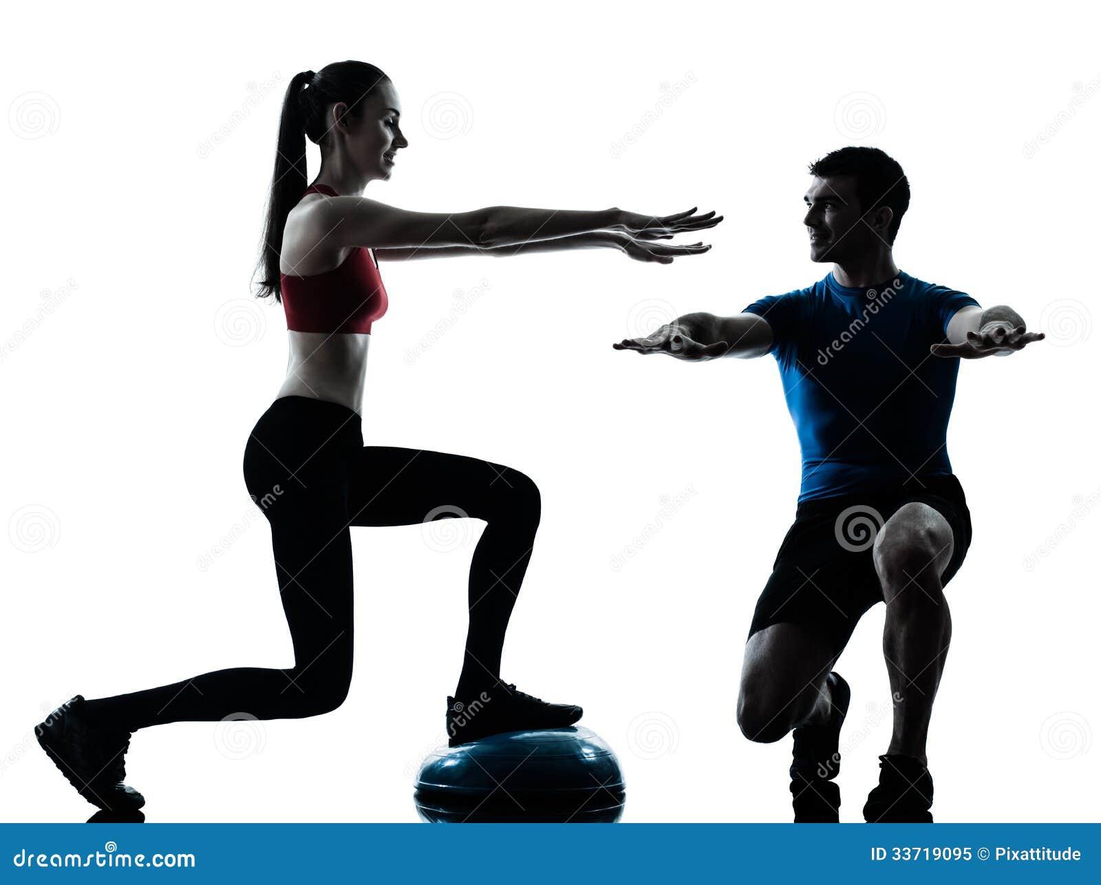 Coach man woman exerci...