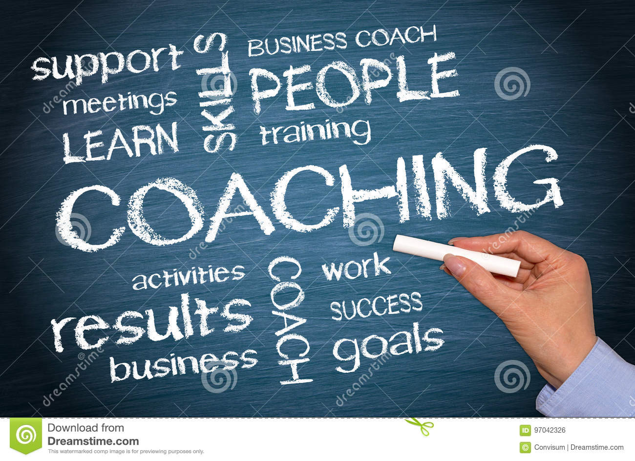 Coaching Business Concept - female hand writing text