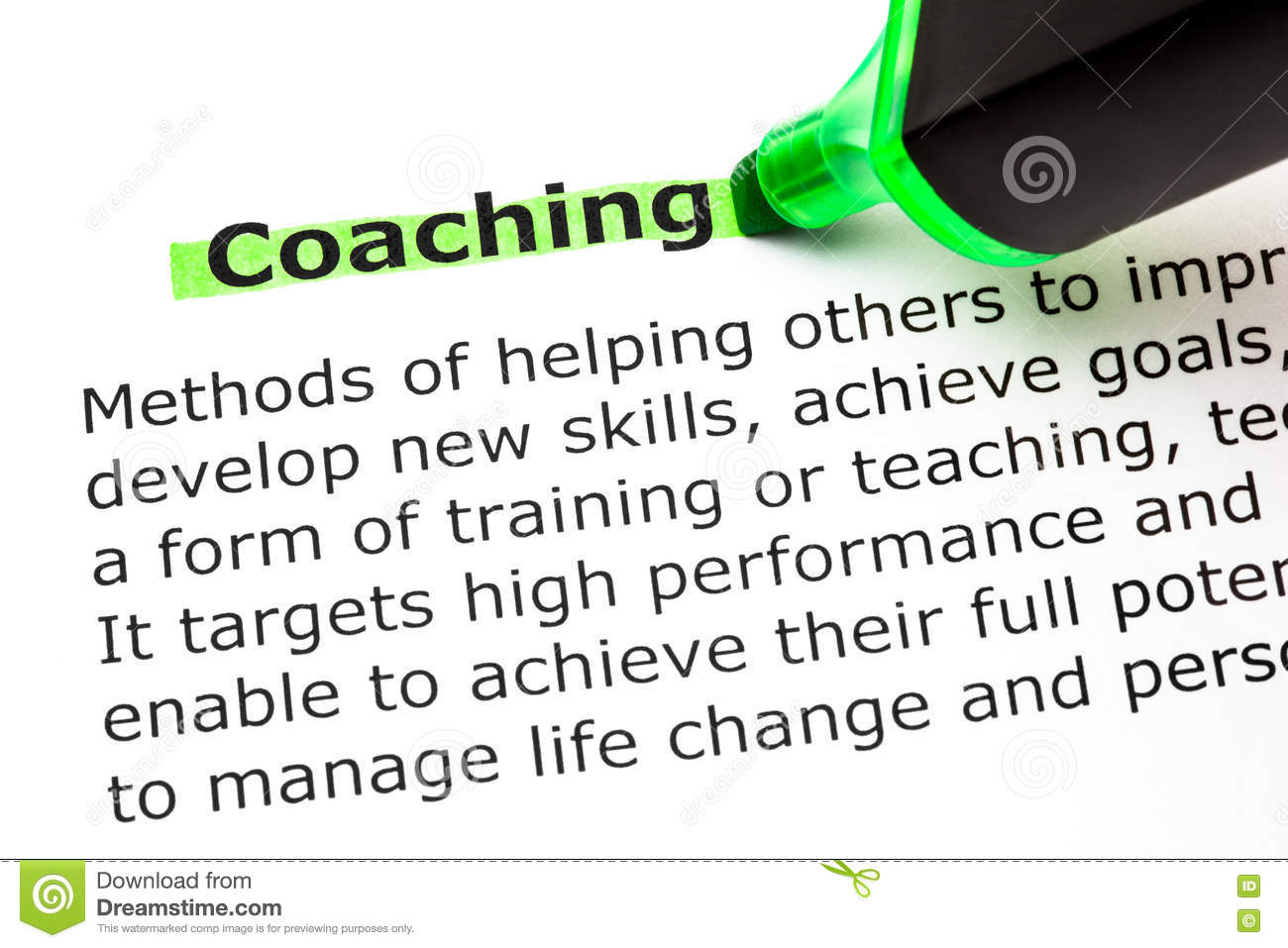 coaching definition stock image. image of improve, goal - 81162379