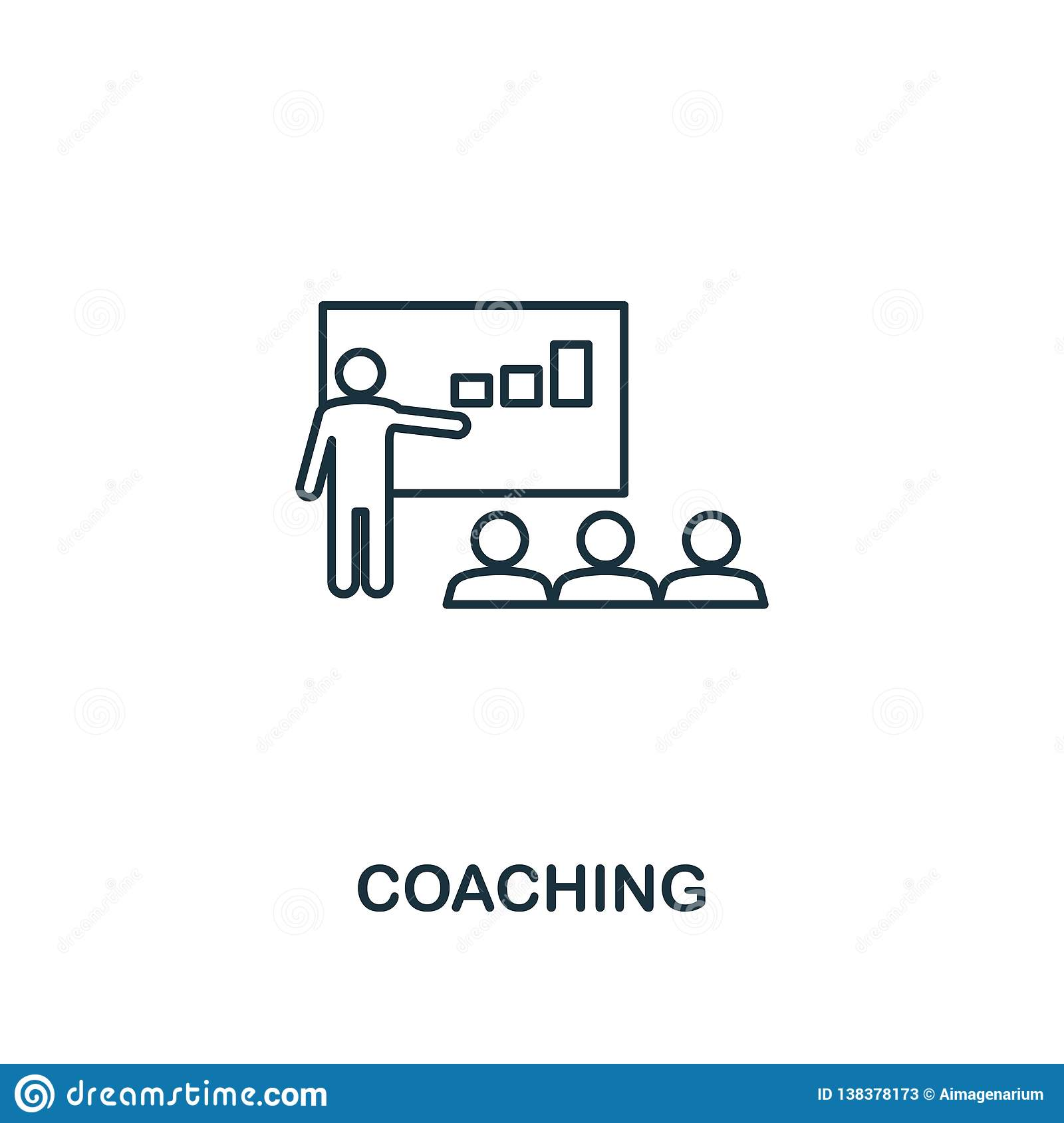 Coaching icon. Thin outline creativeCoaching design from soft skills collection. Web design, apps, software and print