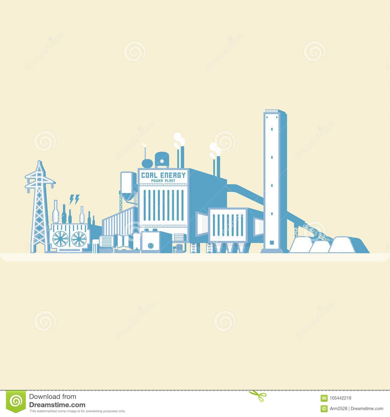 Coal Energy With Boiler And Steam Turbine Stock Vector ...