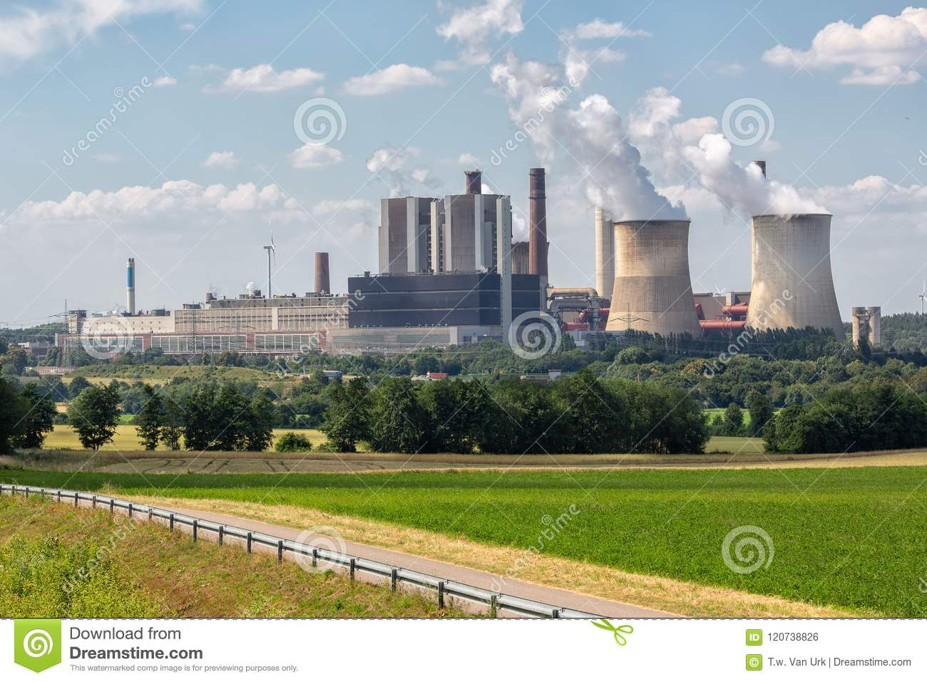 Coal-fired power plant near lignite mine Inden in Germany