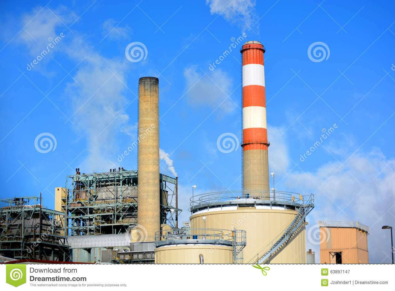 Fossil Fuel Power Plant : Coal fossil fuel power plant smokestack with red and white