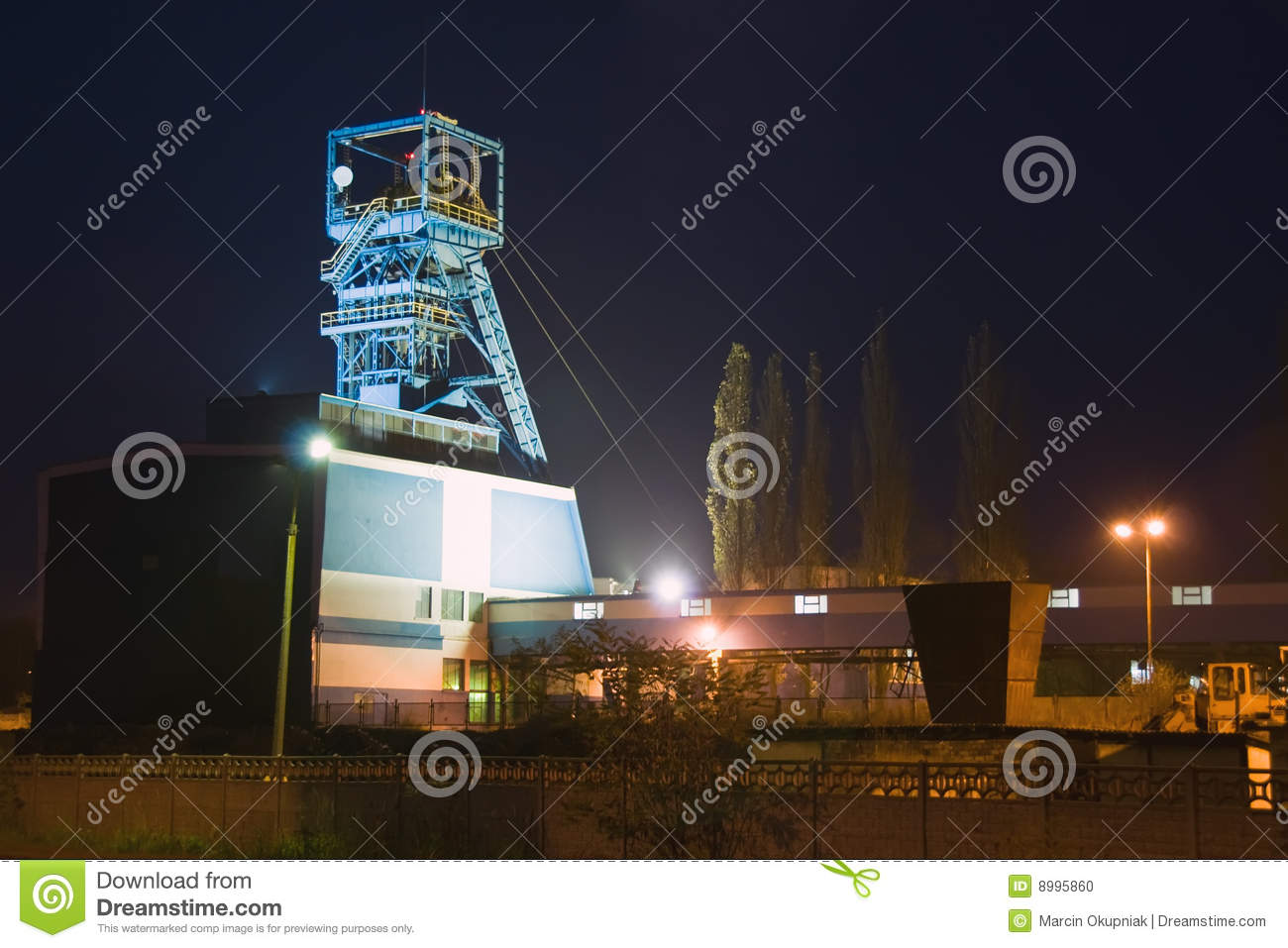 Coal mine at night