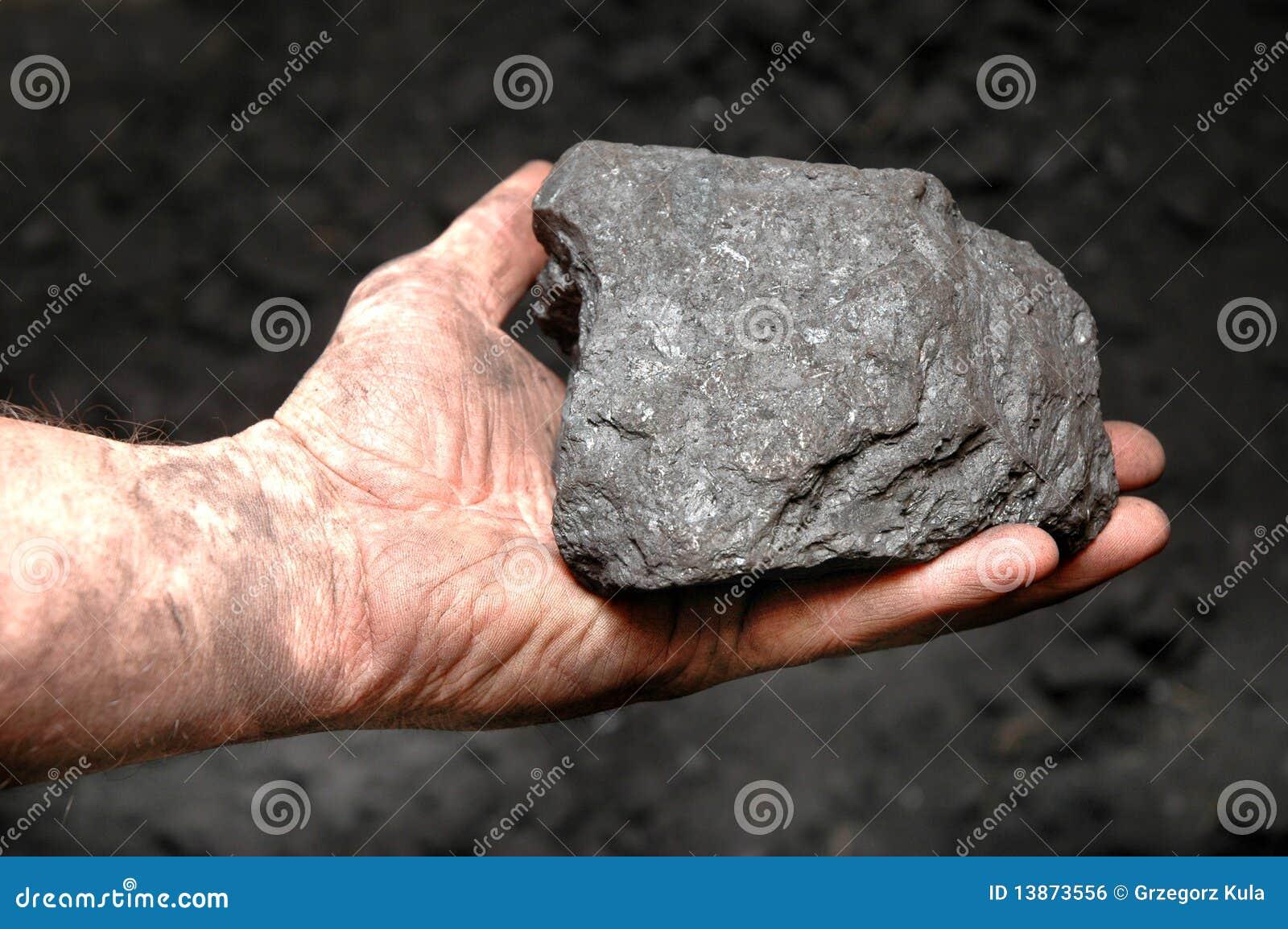 Coal in miner s hand