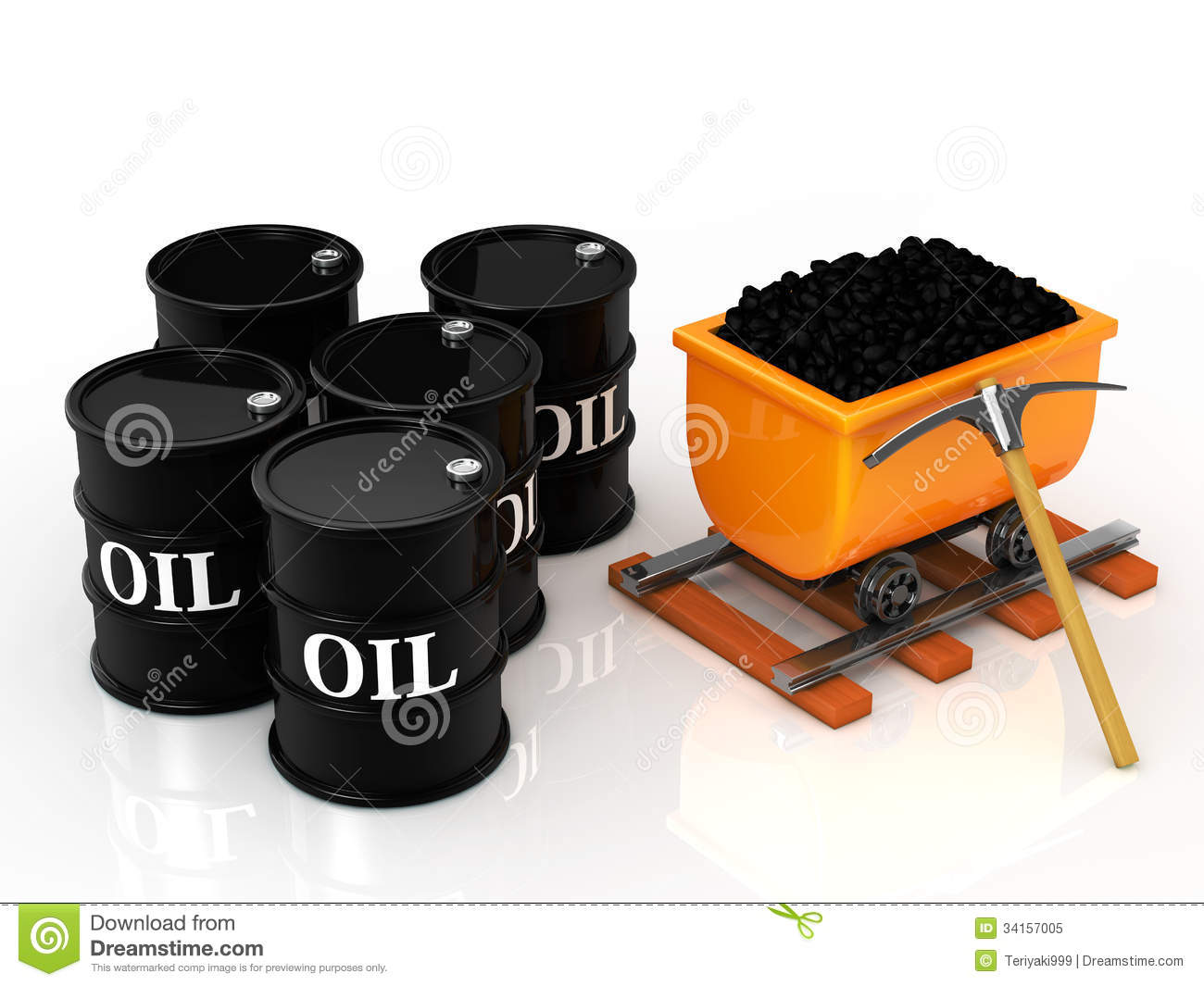 Coal And Oil Barrel Royalty Free Stock Photo - Image: 34157005