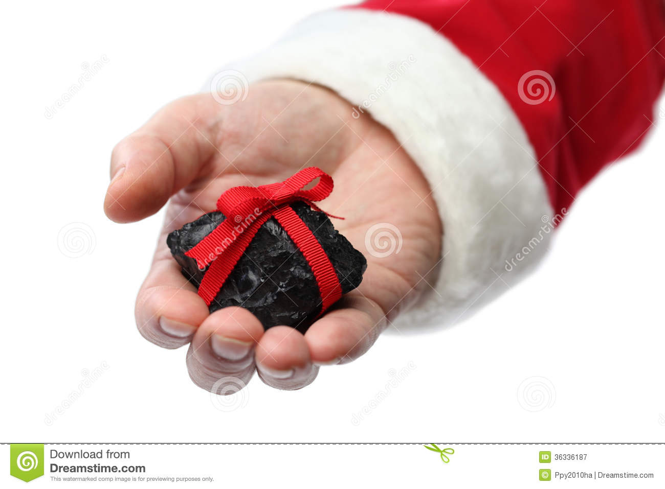 Coal On Santa Claus Hand Royalty Free Stock Photography - Image ...