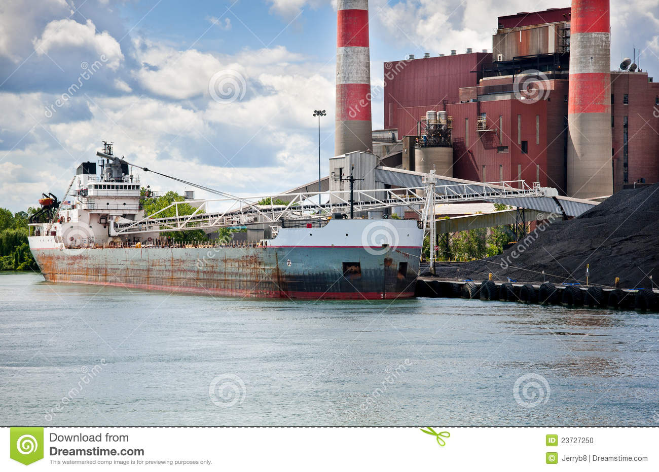 Coal Ship At Power Plant Detroit River Stock Photo - Image: 23727250