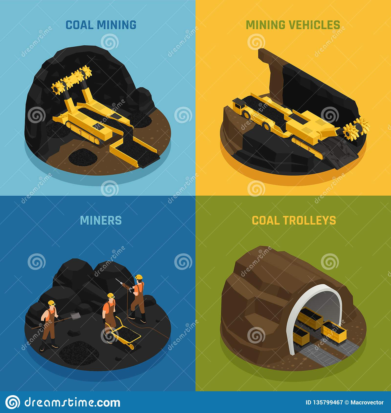 Coalmining isometriskt designbegrepp