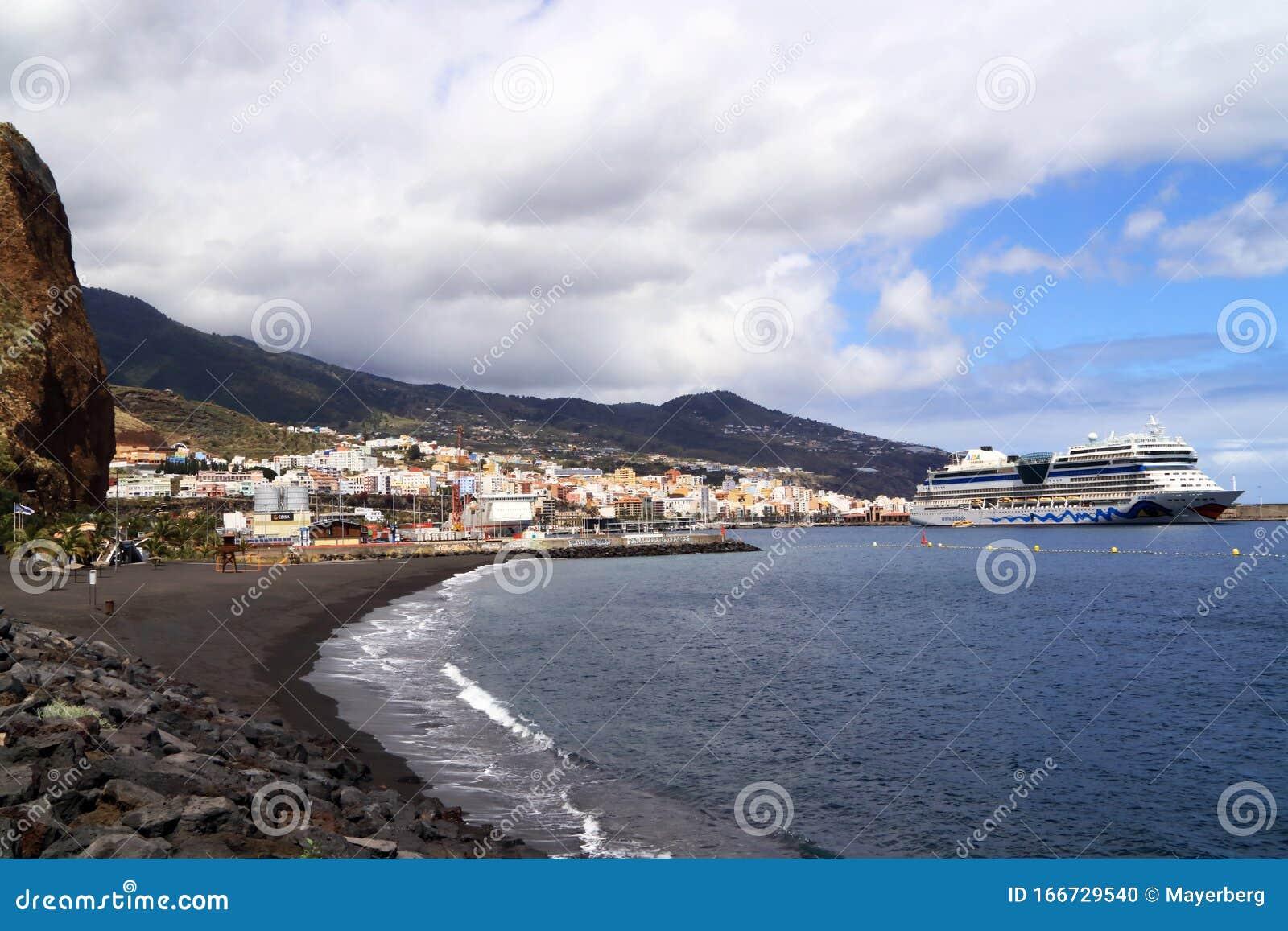 Coast Of Canary Island La Palma With City And Porto Of Santa Cruz