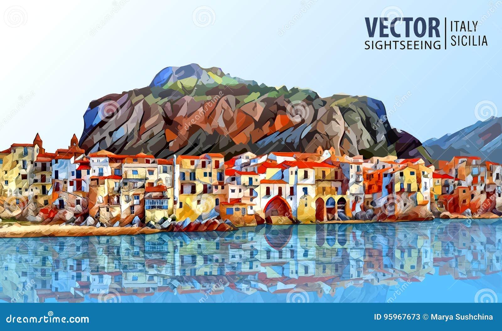 Italy, sicily architecture line skyline illustration ... |Sicily Landmark Silhouette