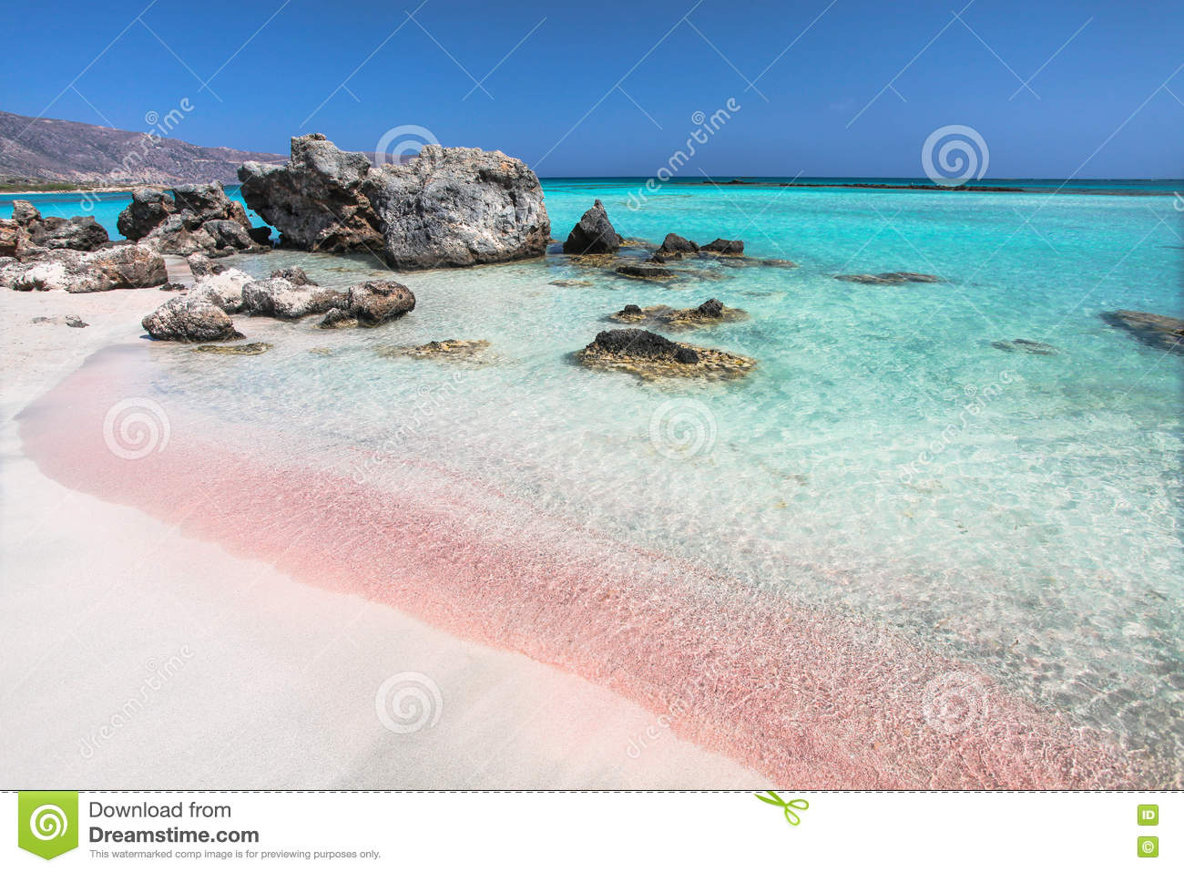 Greek Island With Pink Sand