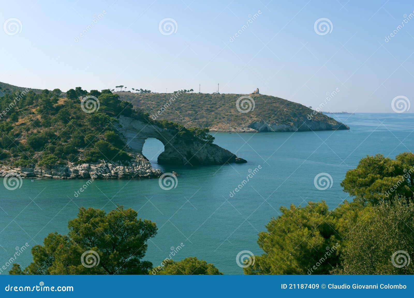The coast of Gargano (Apulia, Italy) at summer
